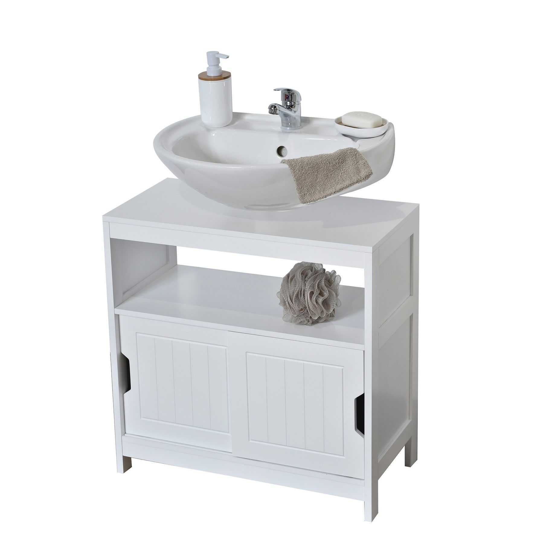 Evideco Non Pedestal Bathroom Under Sink Cabinet Cap Ferret White ...