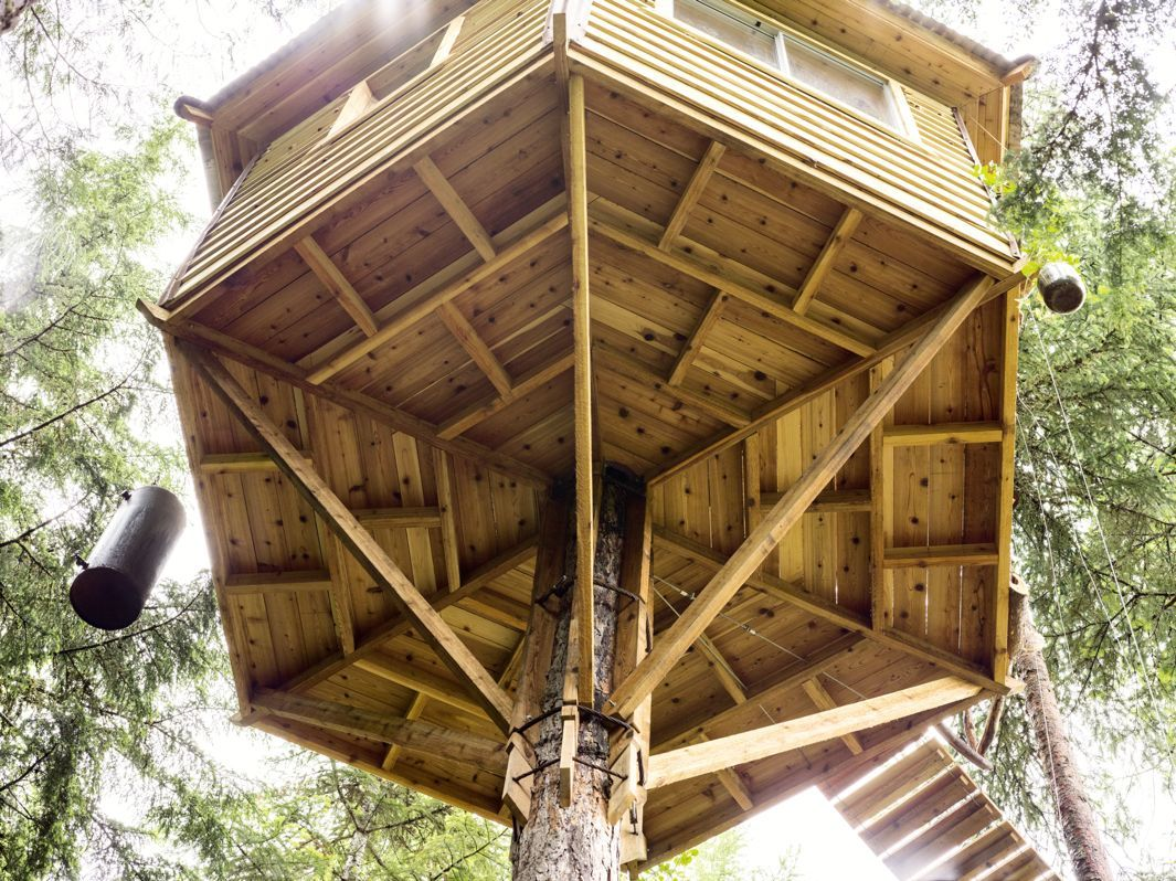 this gorgeous backyard treehouse complete with a bicycle elevator