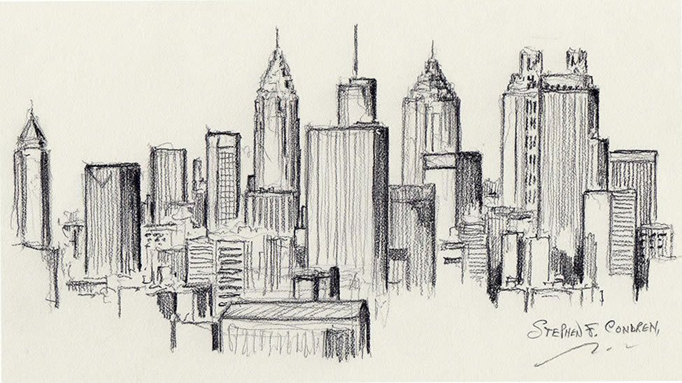 Drawing For Theater Google Search Atlanta Skyline Architekturzeichnung Skyline Malerei