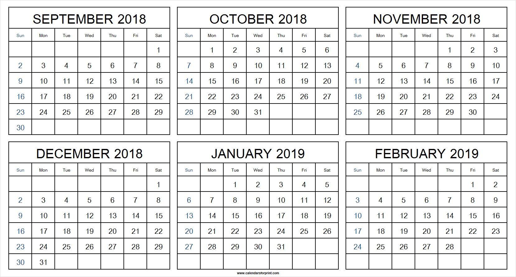 September 2018 To February 2019 Calendar 2019 Calendar Calendar