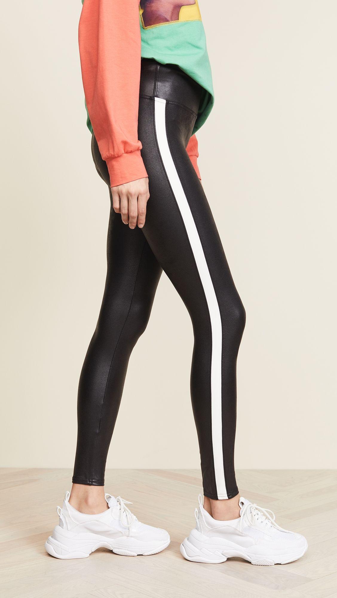 b3aa338afb4eb8 Faux Leather Side Stripe Leggings | Products | Striped leggings ...