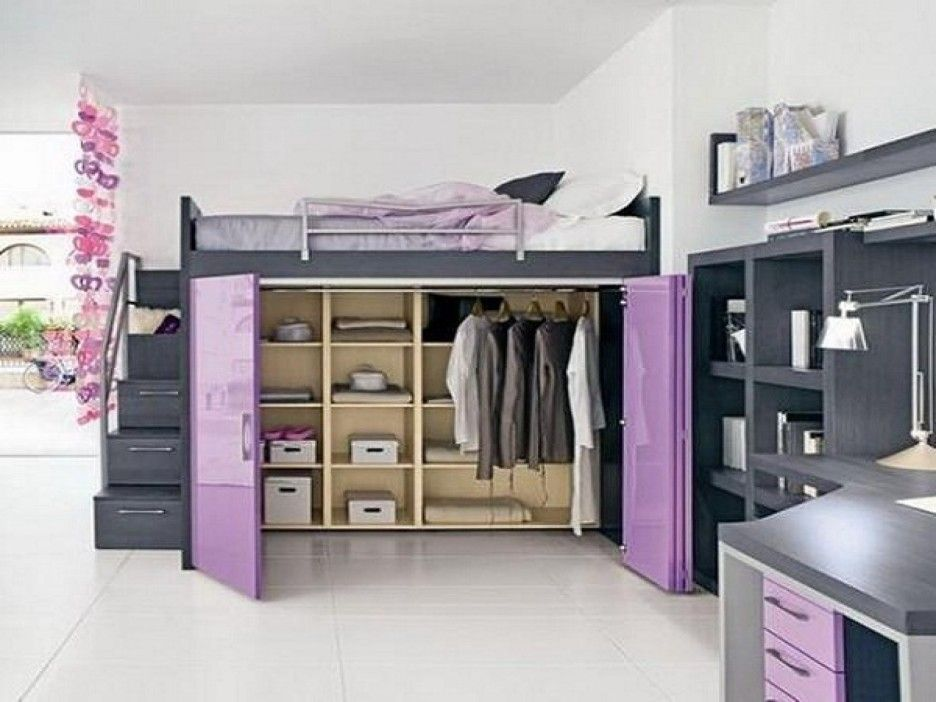 Bedroom. elegant gray wooden loft bed with purple wardrobe closet doors underneath. Cool Bed Ideas For Small Rooms Decoration