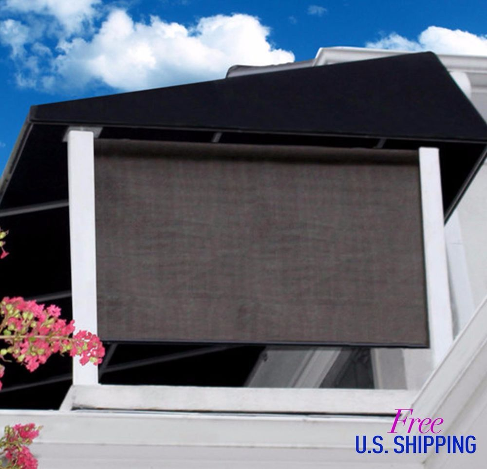 Outdoor Window Shade Exterior Solar Roll Up Patio Curtain Screen ...