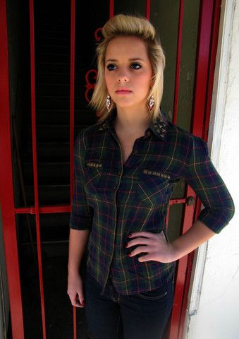 Studded Out Plaid Top - BubbaJane's Boutique