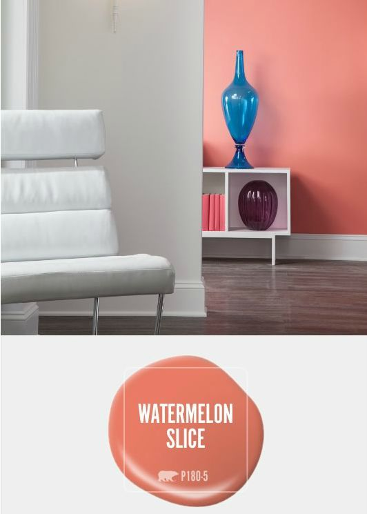 Freshen Up Your Living Room With A Dash Of Coral Watermelon Slice. Pair  This Beautiful Paint Color With White Modern Decor In Your New Home For A  Signature ...