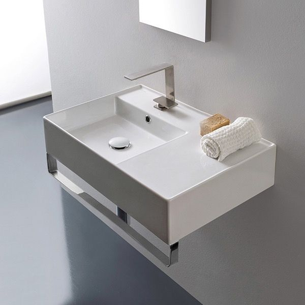 Rectangular Ceramic Wall Mounted Sink With Counter Space Towel Bar Included Wall Mounted Bathroom Sinks Floating Bathroom Sink Ceramic Bathroom Sink