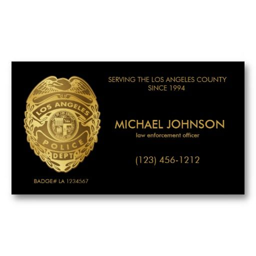 Faux lapd police officer fake police officer business for Police business card
