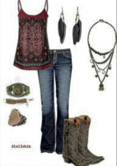 Country Outfit. Lovin those boots