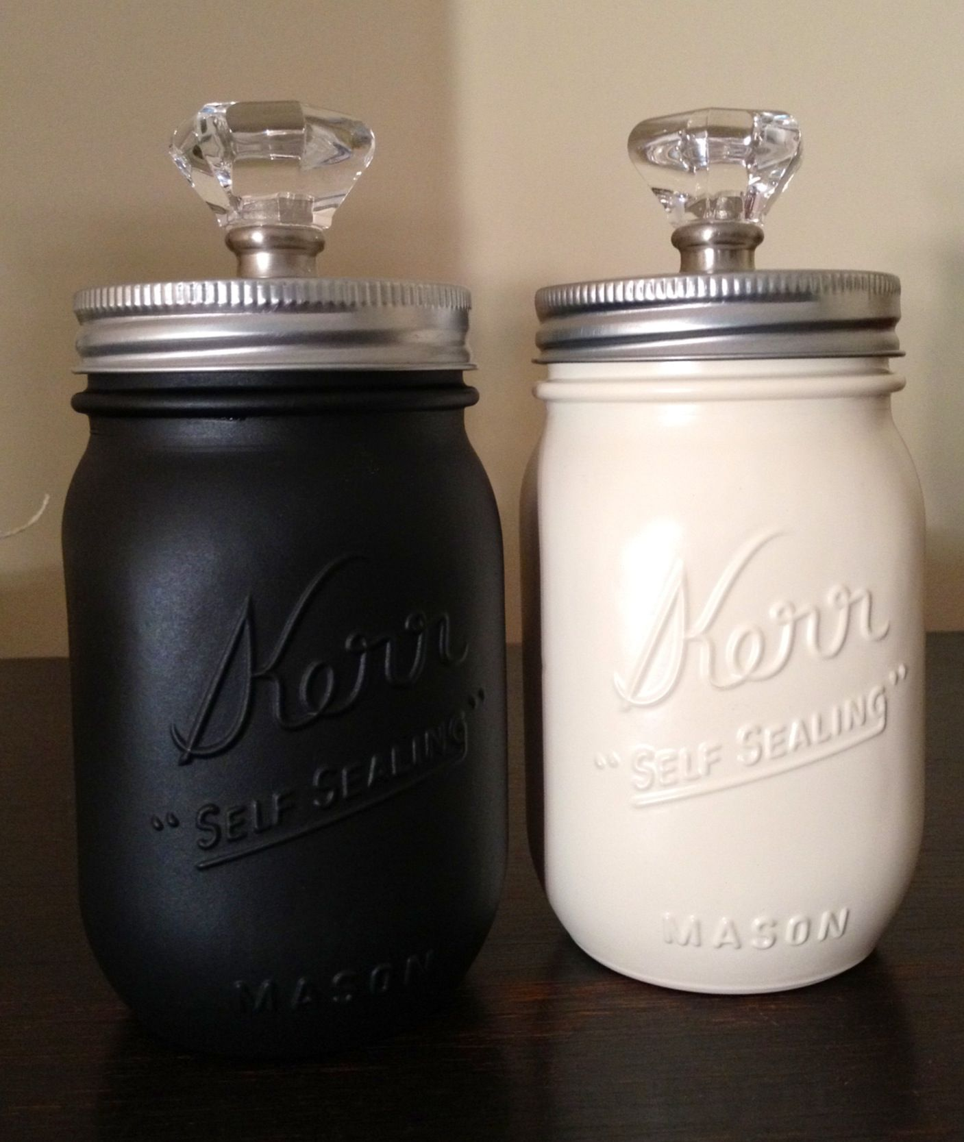 Spray painted mason jar canisters kitchen ideas for Mason jar kitchen ideas