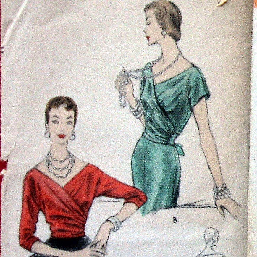 VINTAGE VOGUE Womens Side Wrap Blouse Pattern circa 1954