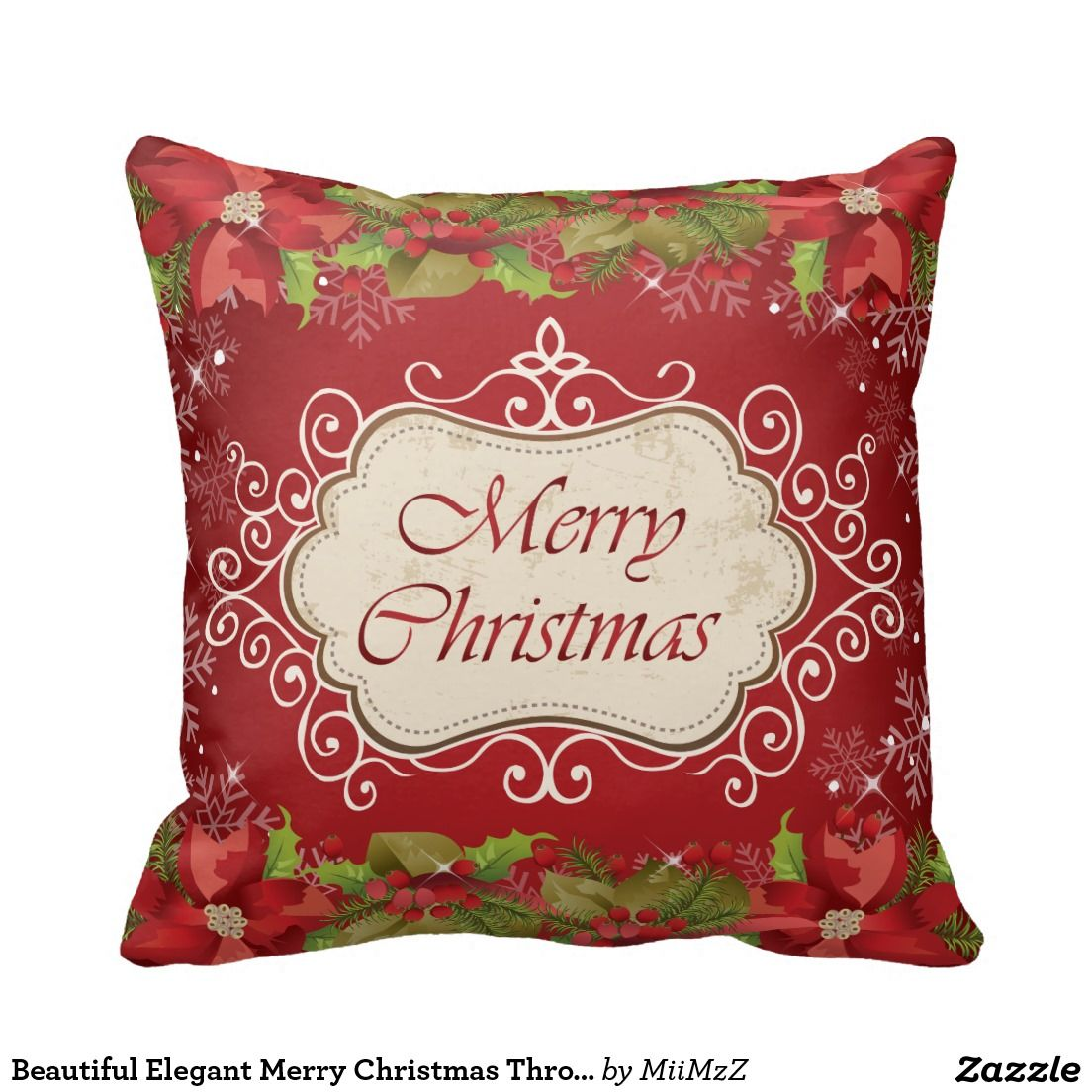 Beautiful Elegant Merry Christmas Throw Pillow #Christmas #merry Christmas #xmas #pillow