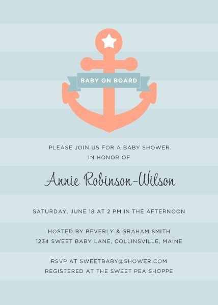Baby on Board TEMPLATE 120116 By Roxanne Buchholz 5 x 7 Invitation