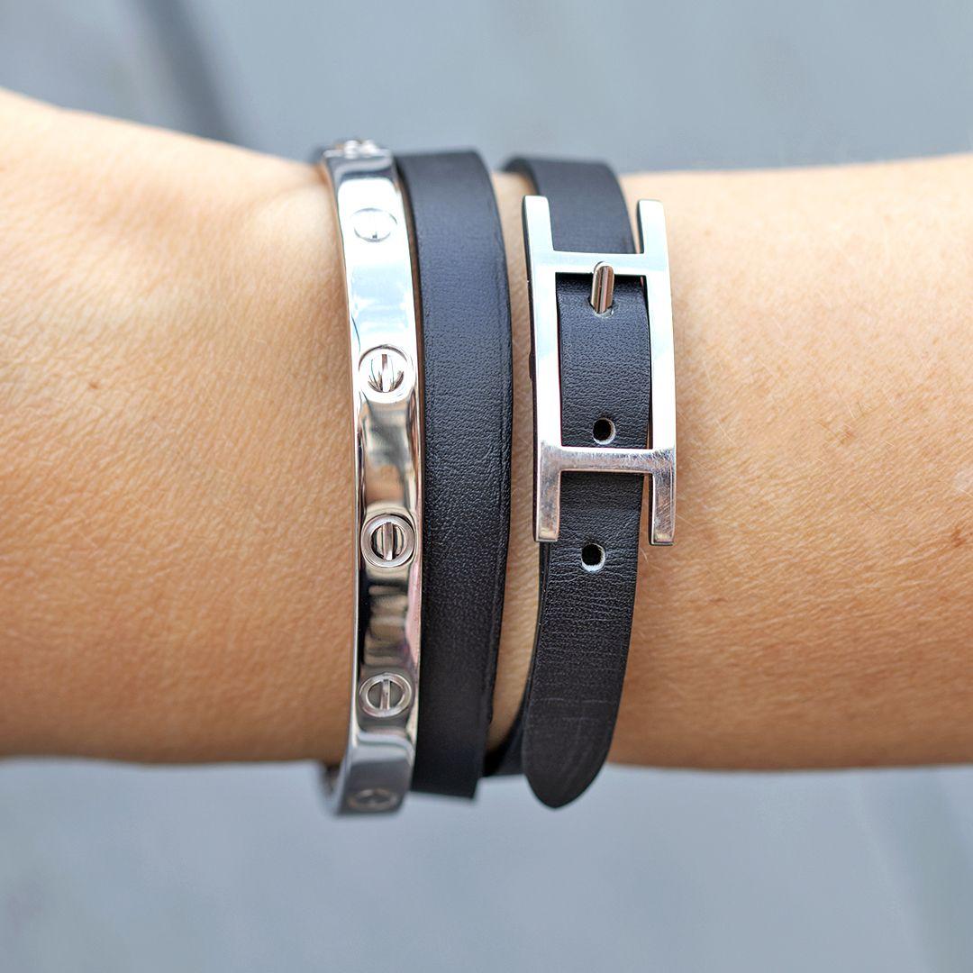 Cuir Porté Célèbre Accumulation Noir Hermès Bracelet Behapi En Le b6gy7fY