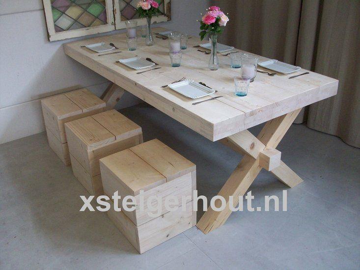 Steigerhouten tafel kruispoot voor al uw houten meubels