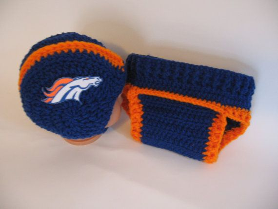 ae97cd645 Denver Broncos Helmet and Diaper Cover Set by AWorldCreated