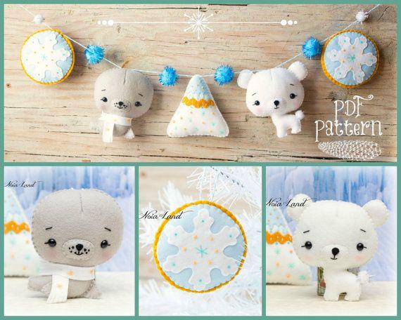 PDF Pattern. North Pole garland ( Polar bear, Seal, Snowflakes and ...