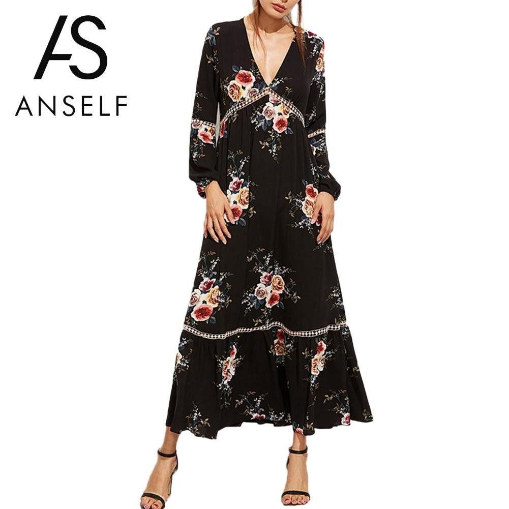 Bohemian women maxi dress floral print long summer beach dress