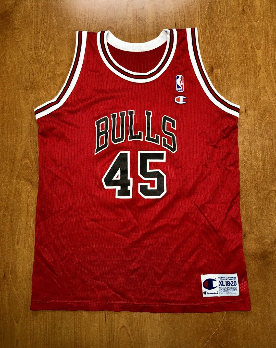 817ca00a4b0 Vintage 1995 Michael Jordan Chicago Bulls 45 Champion Jersey Size Youth XL 40  nba finals hat shirt scottie pippen authentic air jumpman kids by ...