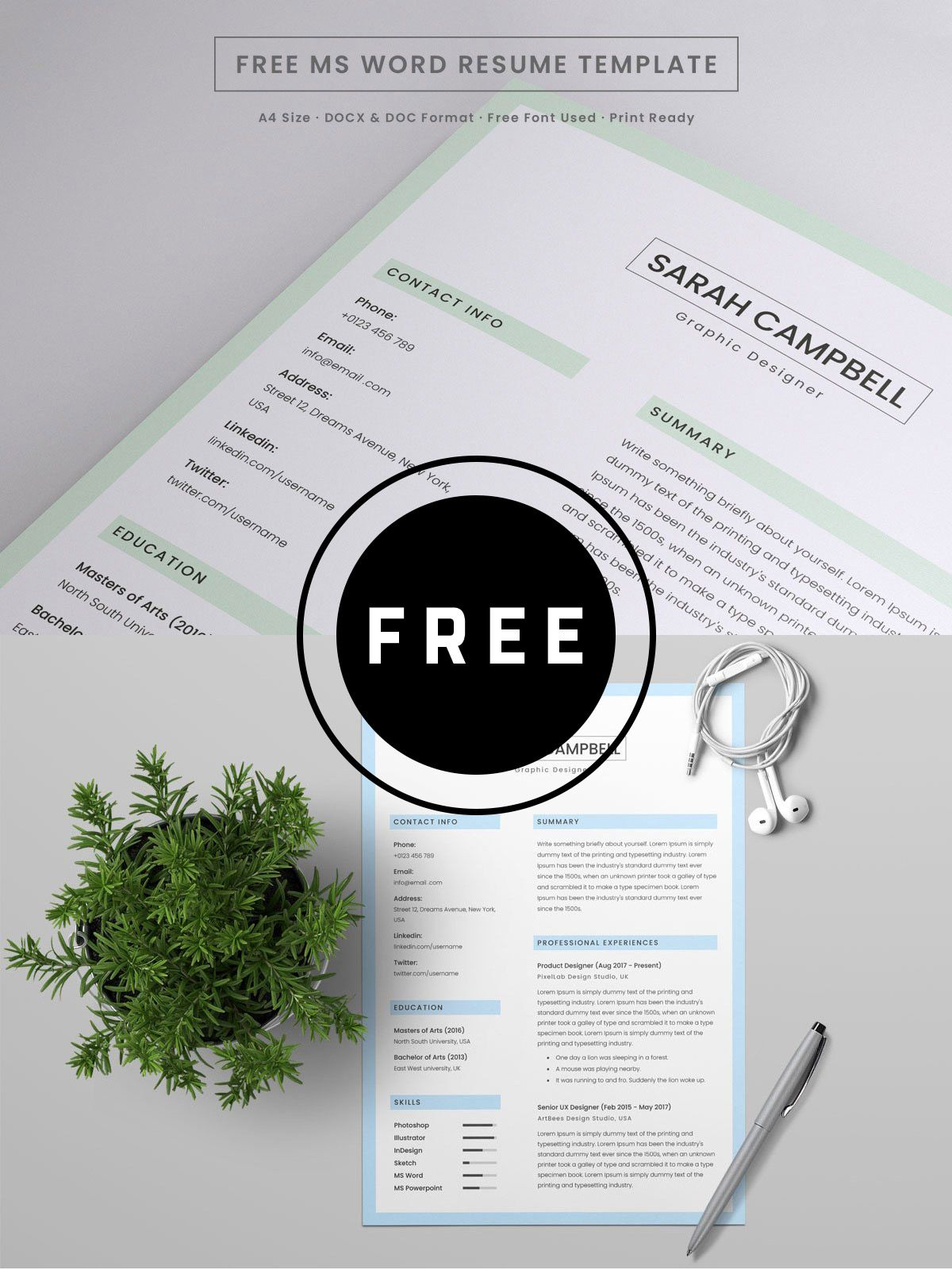 98 Awesome Free Resume Templates for 2019 Microsoft word