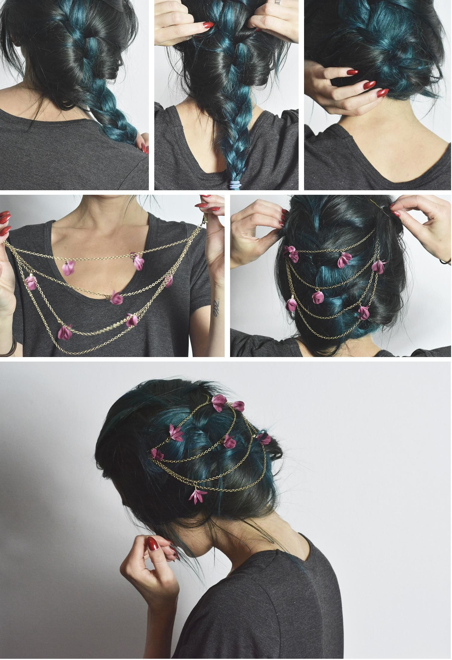 TUTORIAL | EASY ROMANTIC UPDO from Linda Hallberg: /This updo is as simple as it is romantic! Step 1: Do a messy french braid and tie it with a hair ribbon Step 2: Make the braid even more messy  Step 3: Roll the braid and attach it with pins under itself.  Step 4: Find a nice head piece, or a necklace that you can put in your hair . I found this head piece in a store called Claire's . They had soooo much nice things.  Step 5: Attach the piece and hide the larger pins (if any) with your hair