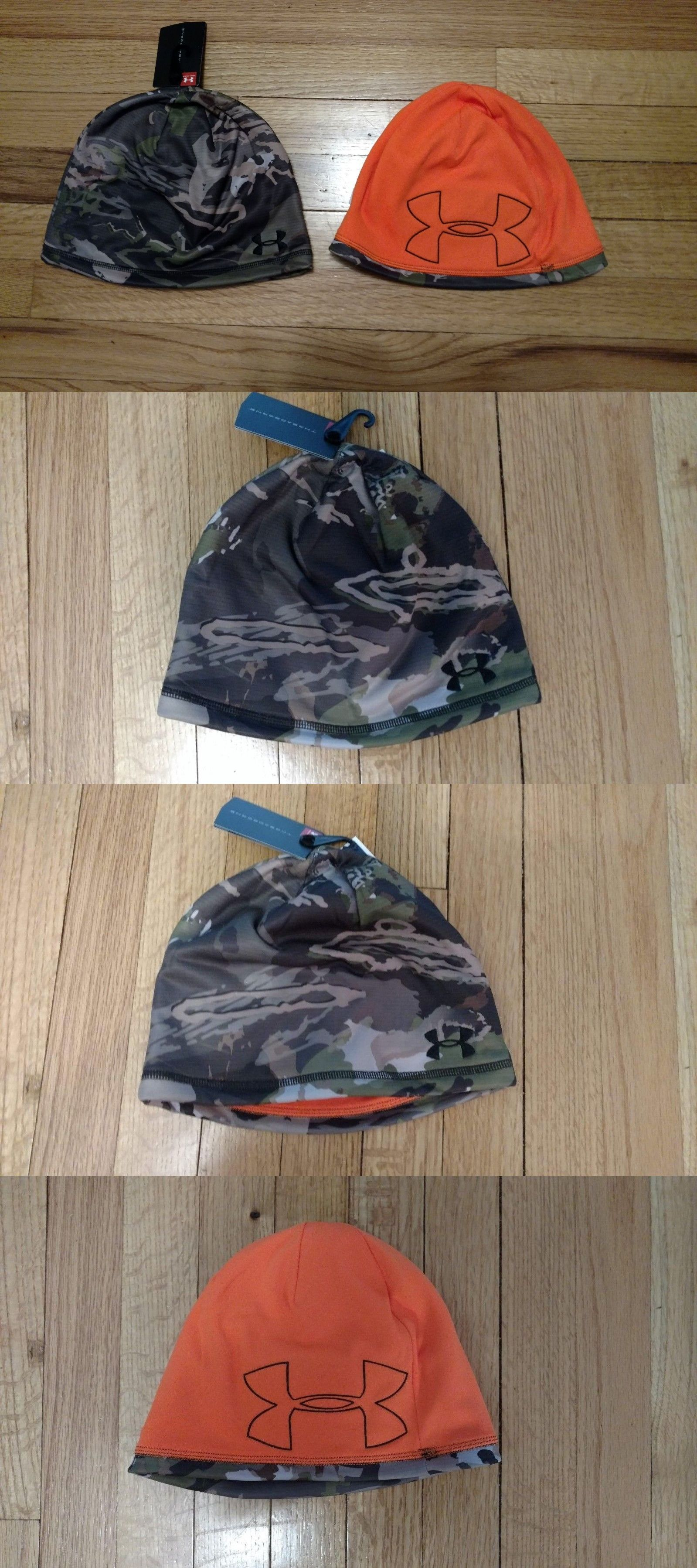 906ee2cf65e0c Clothing Shoes and Accessories 36239   34.99 Under Armour Mens Beanie Hat  Camo Orange Reversible Nwt