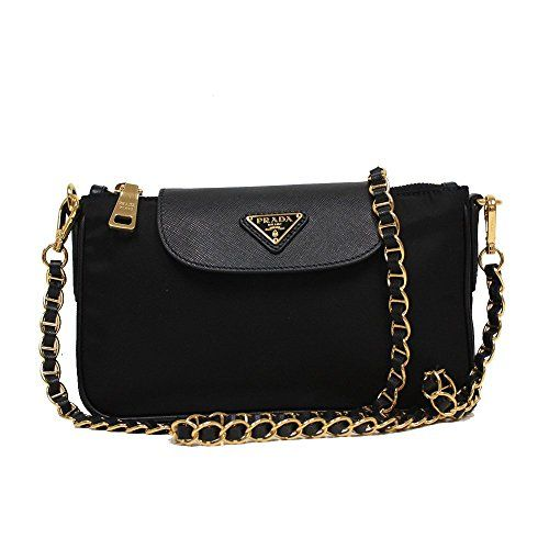 3f05bc92ec18 Prada Tessuto Saffiano Nylon Leather Black Chain Handle Crossbody Shoulder  Bag