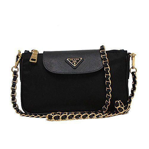 a90b9c251776 Prada Tessuto Saffiano Nylon Leather Black Chain Handle Crossbody Shoulder  Bag