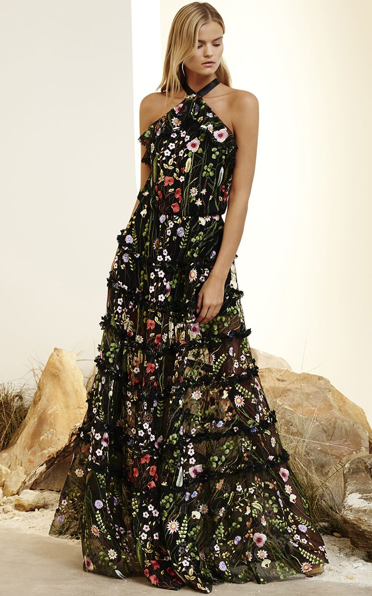 40666e455 Alexis Black Glory Floral Embroidered Gown Vestidos Largos Casuales