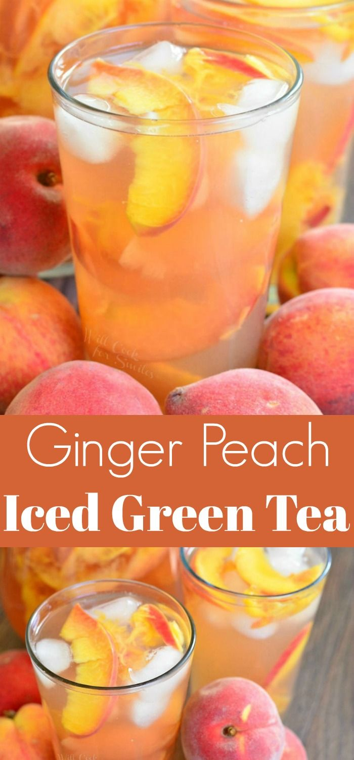 Photo of Ginger Peach and Honey Iced Green Tea.  This iced green tea is flavored with fre…