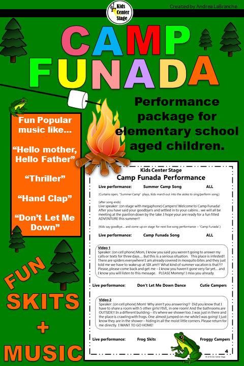 Summer Camp Themed Script For Single Class Or Large Group Musical