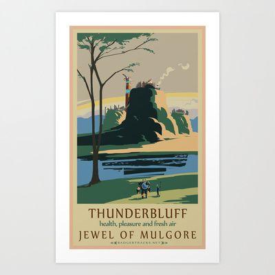 Thunder+Bluff+Classic+Rail+Poster+Art+Print+by+Josh+Atack+-+$17.00