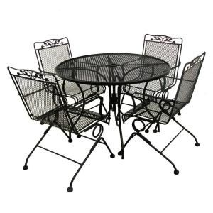 Arlington House Glenbrook Black 42 In Round Mesh Patio Dining Table
