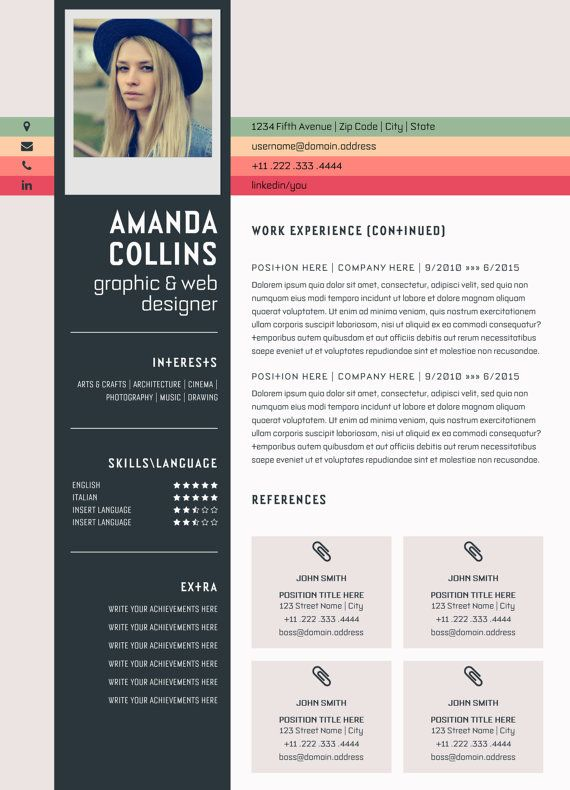 Creative Resume Template Word Modern Resume By Typematters On Etsy