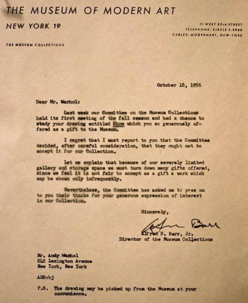 Rejection letter to Andy Warhol from the Museum of Modern Art - rejection letter sample