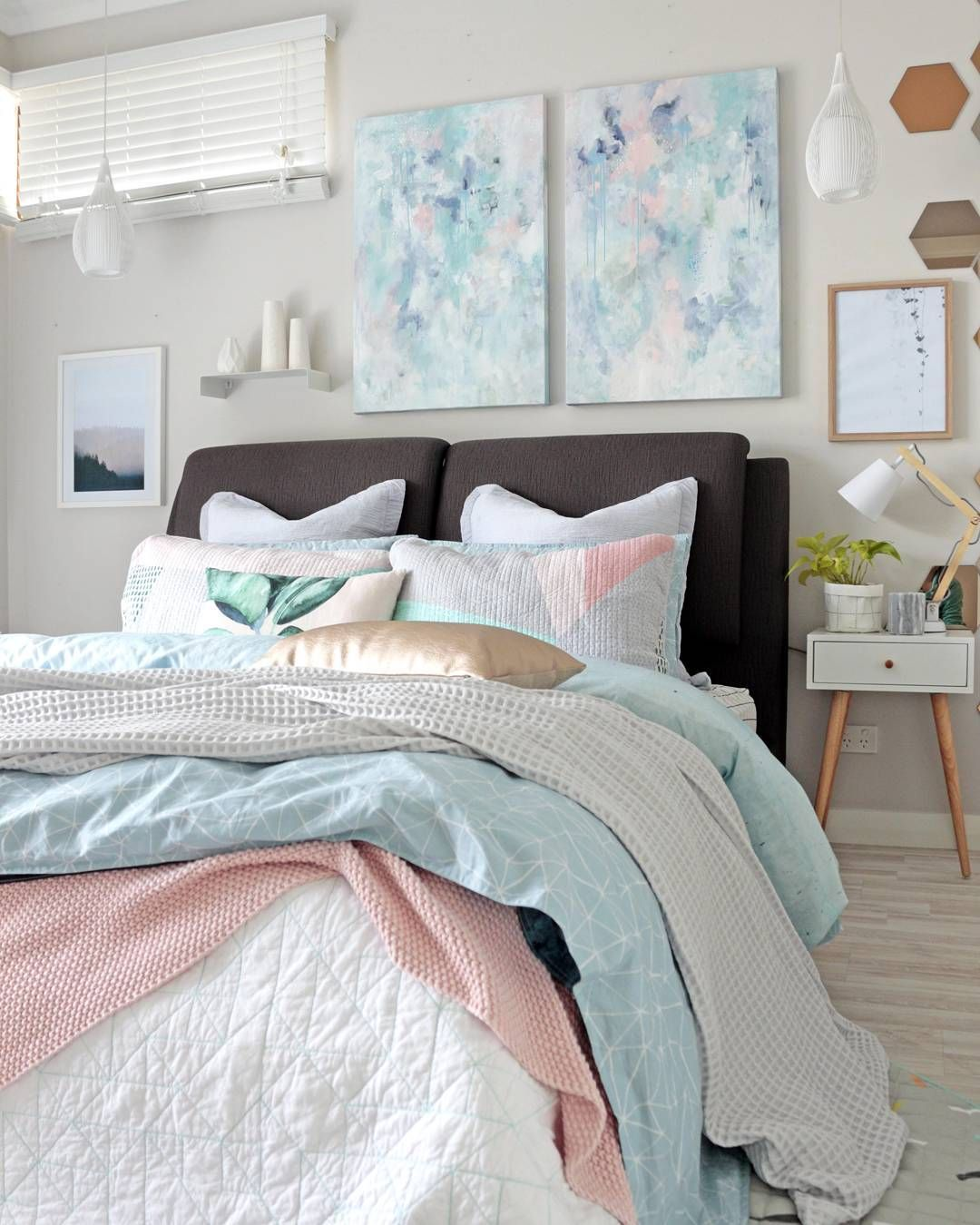 Contemporary modern pastel bedroom with grey blue and pink