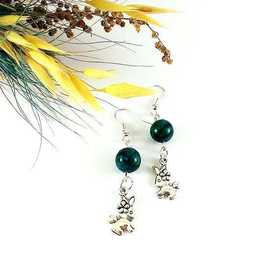 #Dark green #earrings #Gemstone earrings Easter bunny by Galiga
