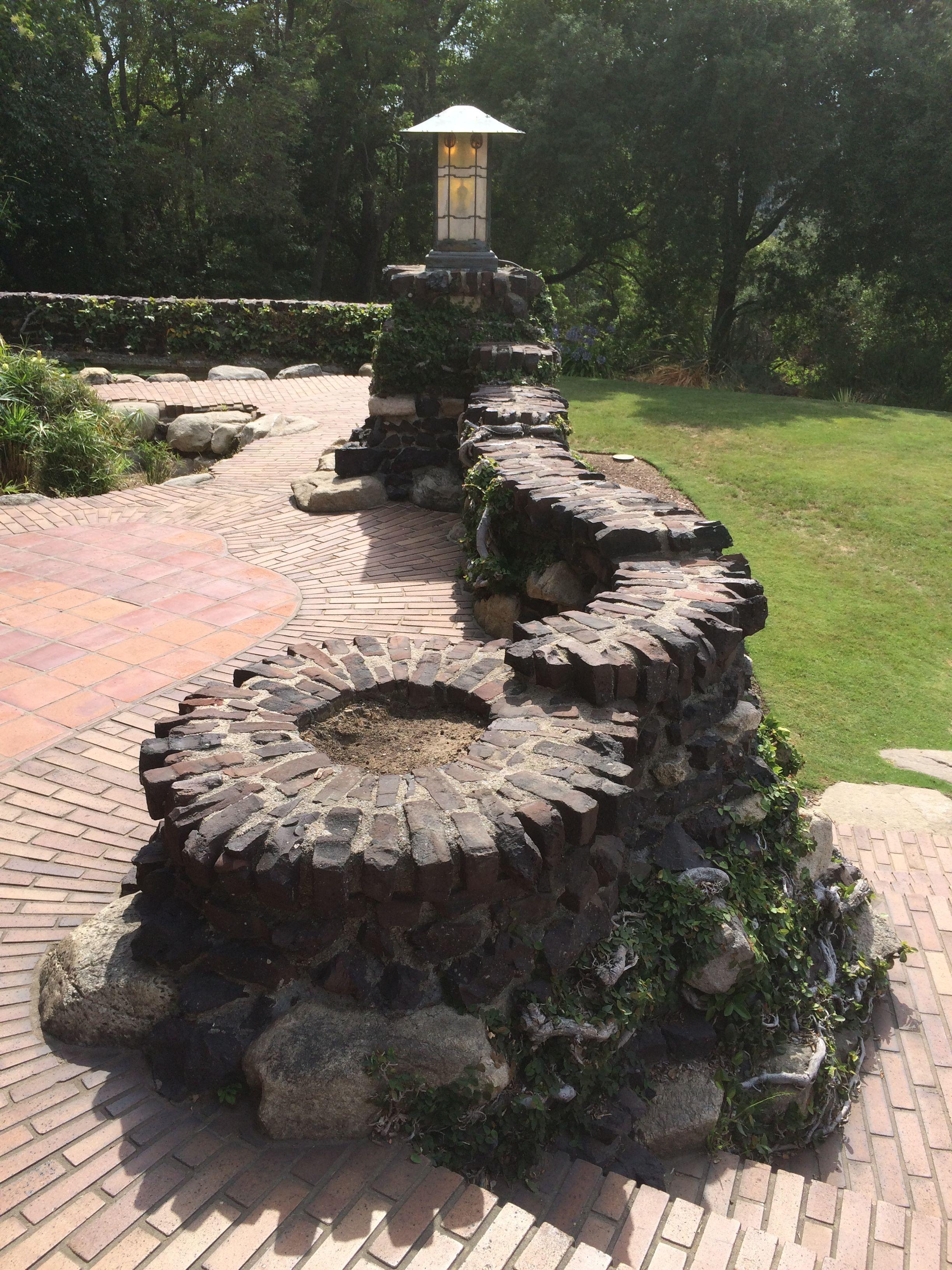 Elegant Gamble House   Clinker Brick U0026 River Rock Garden Wall
