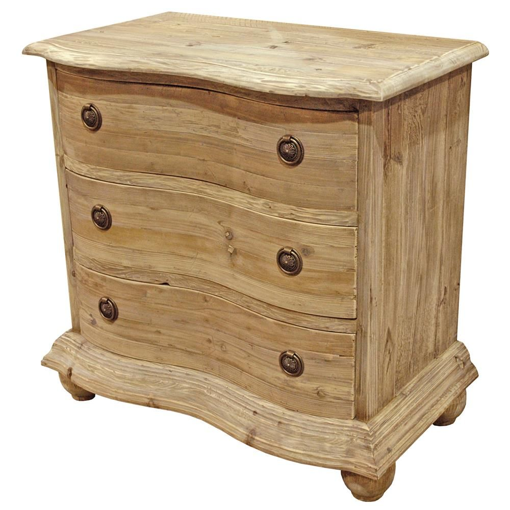 Rodin French Country Reclaimed Natural Pine Curved Bachelor Chest 30 Inch Stone Top Nightstand Primitive Furniture Eclectic Nightstand