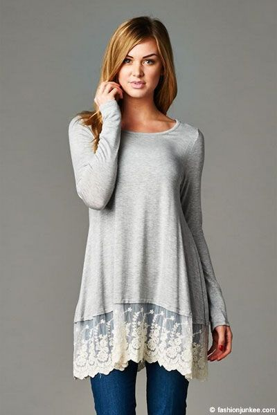 a728ce58ab831 Lace Trim Bottom Hem Long Sleeve Jersey Tunic Top-Heather Greay. PLUS SIZE  ...