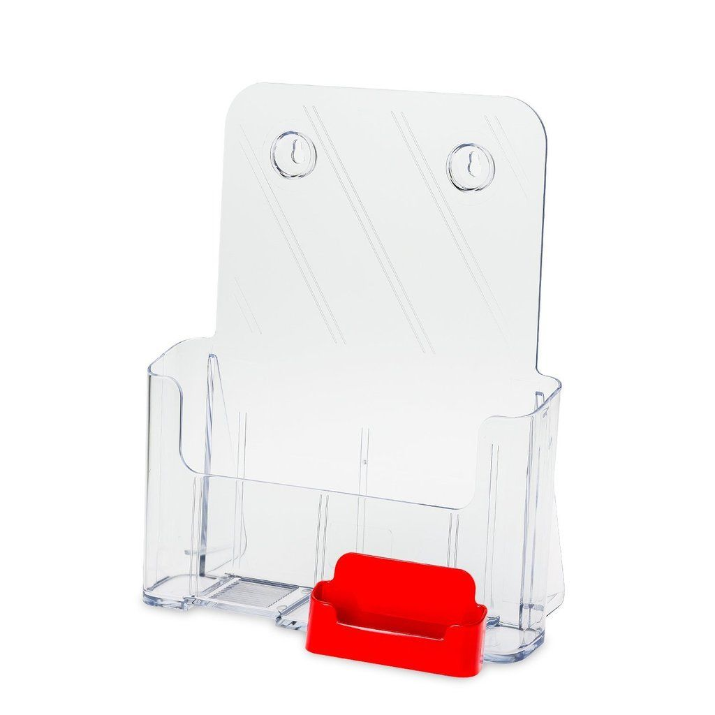 Countertop Flyer Holder With Attached Business Card Holder Red