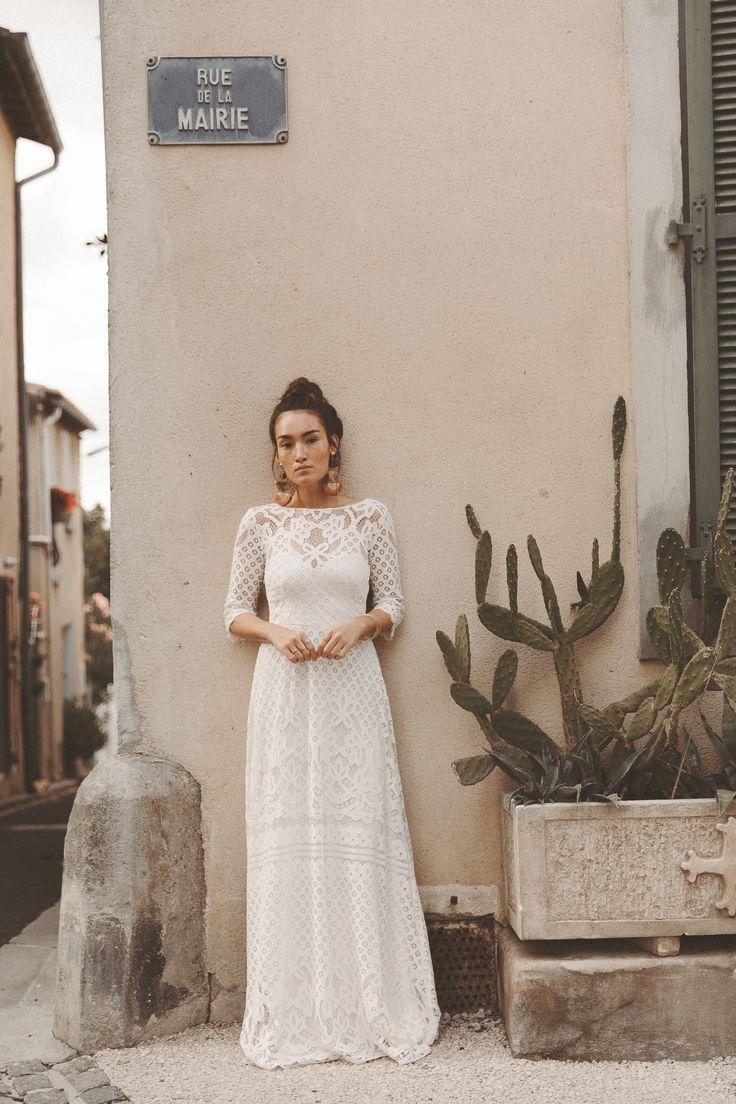 Brautkleid Boho Vintage Hochzeitskleid aus Spitze Sommerhochzeit