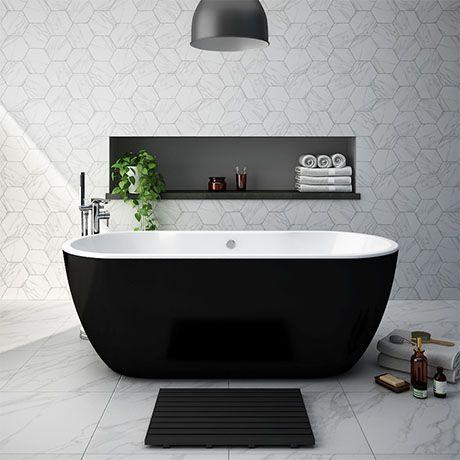 Verona Black Freestanding Modern Bath | Victorian Plumbing UK #blackwhitebathrooms
