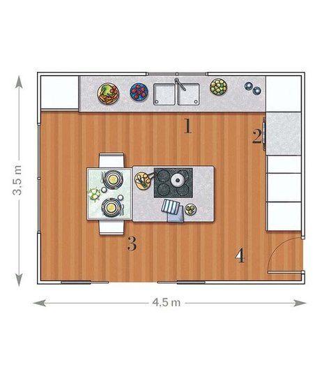 Cocina con isla y office de 15 75 m luz natural mesa for Plano de una cocina profesional