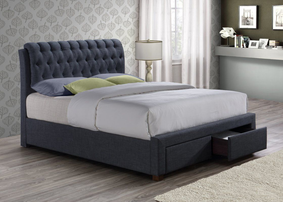 878d79bc477 A delightfully upholstered bed that is really brought to life by a detailed  buttoned headboard design