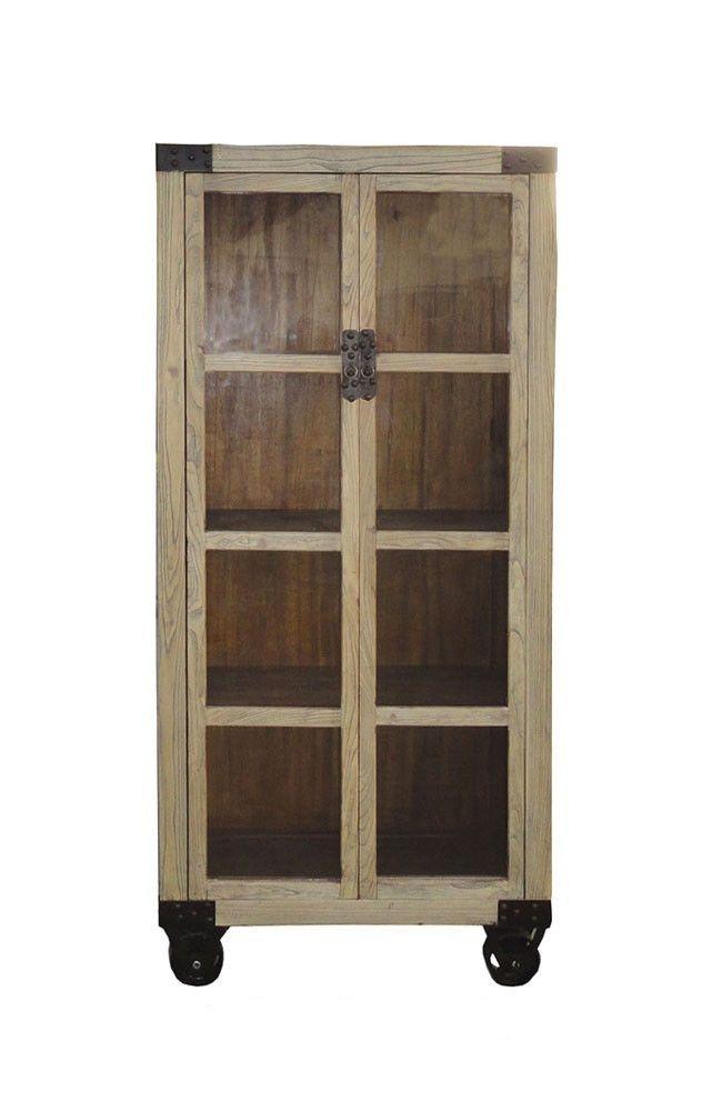 chinese raw wood industrial glass doors display curio cabinet w rh pinterest com