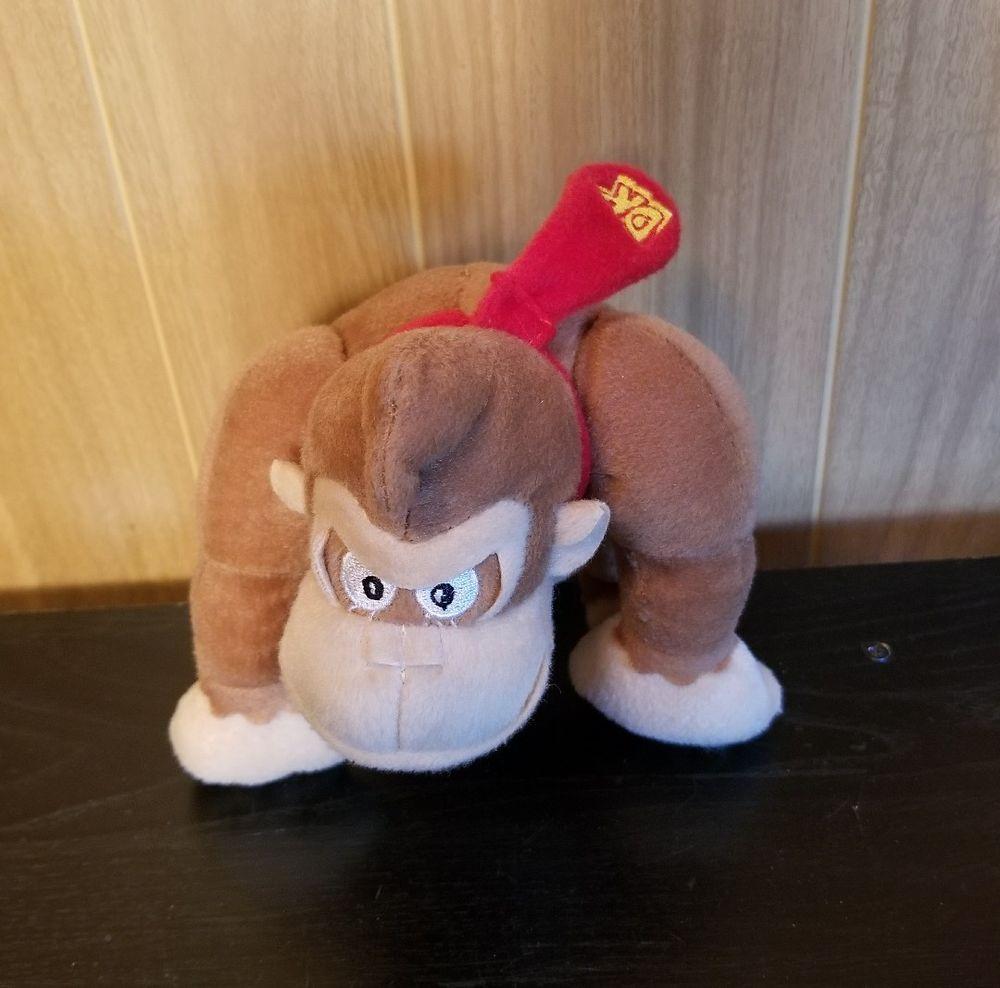 "Nintendo Super Mario Donkey Kong 6"" Plush Gorilla Red Tie Stuffed Monkey B3N #Nintendo"