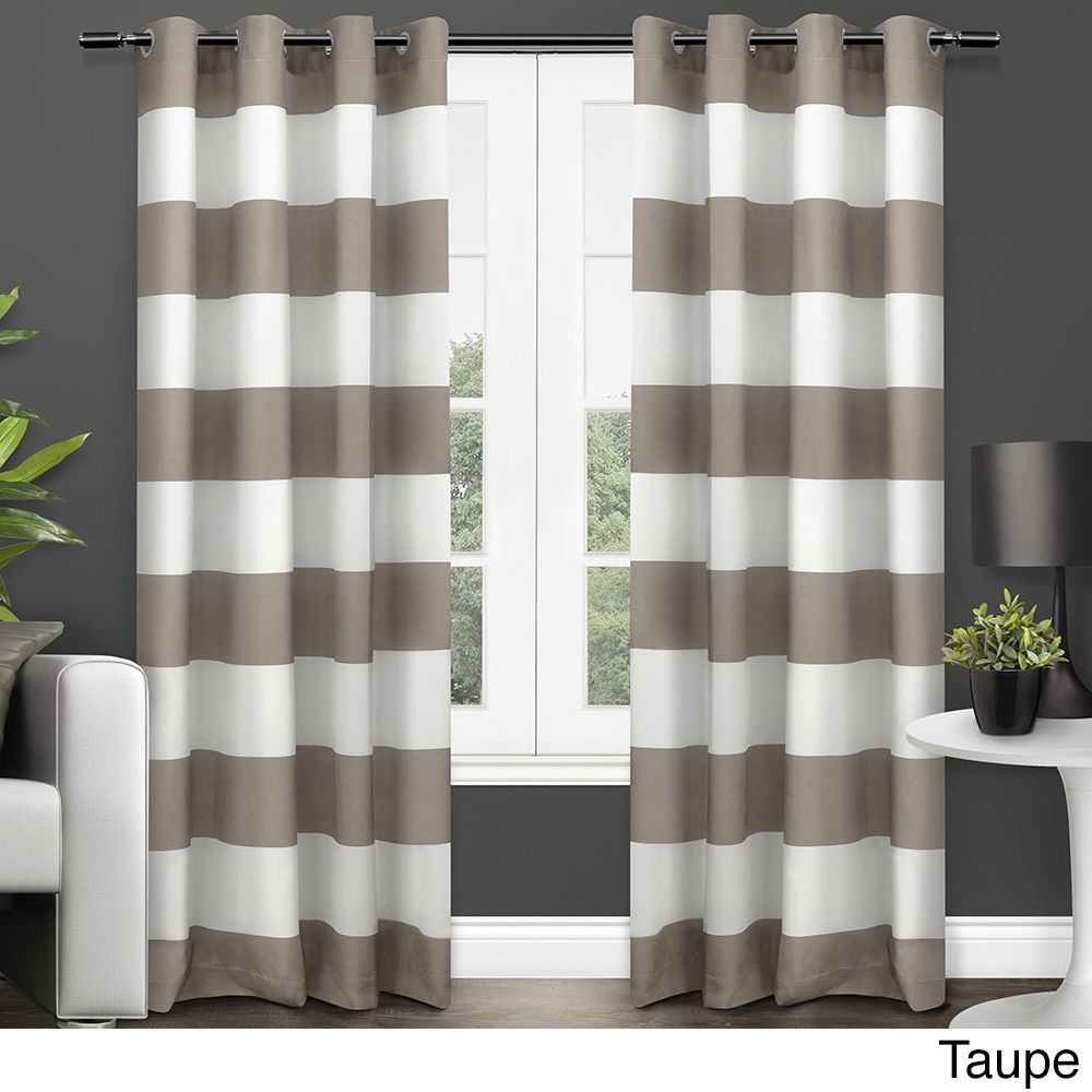 Ati home surfside cotton cabana stripe grommet top curtain panel