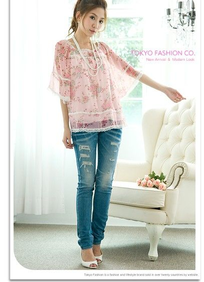 Floral Lace Sleeve Chiffon Shirt Speaker / Powder