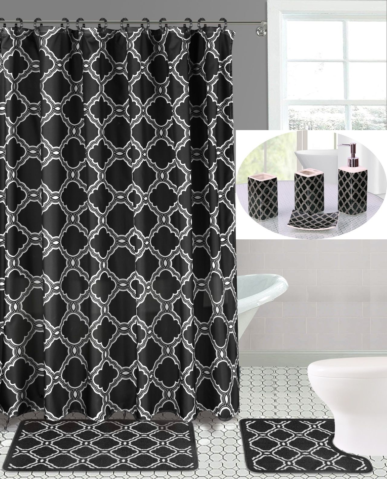19pc Honey Black Bathroom Set Embroidery Banded Washable Rubber Backing Anti Slip Includes 2 Bath Rug Math 1 Shower Curtain 12pc Rings Covered 4 Accessori In 2021 Bathroom Bath Mats Black Bathroom Sets Complete Bathrooms [ 1587 x 1280 Pixel ]
