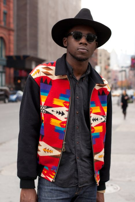 Theophilus London wakes up a drab winter look with a bright Pendleton for Opening Ceremony jacket.